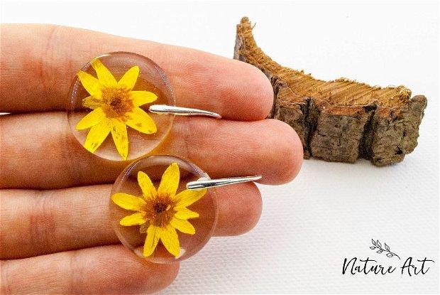 """Set bijuterii din argint cu o floare naturala presata """"Solar""""!"""