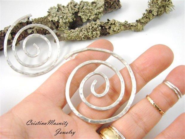 Cercei supradimensionati, cu tija, spirala din argint 925