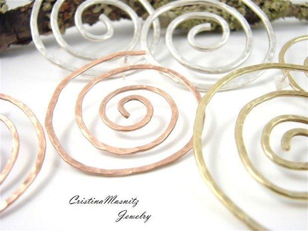 Cercei supradimensionati, spirala din cupru si tija din argint 925