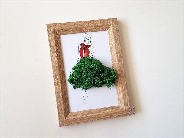 Tablou licheni, tablou femeie cu rochie rosie, tablou femeie licheni, rama foto licheni