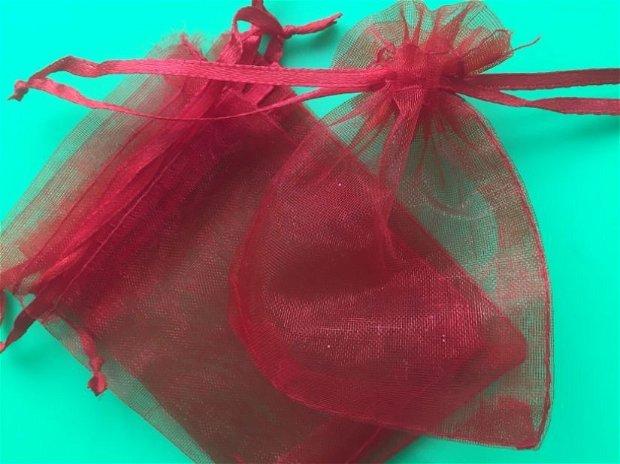 Săculeț organza roșu