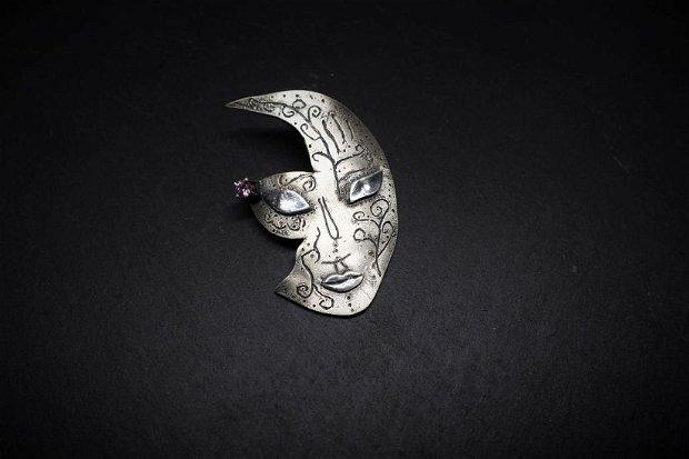 brosa din argint 999, masca de carnaval