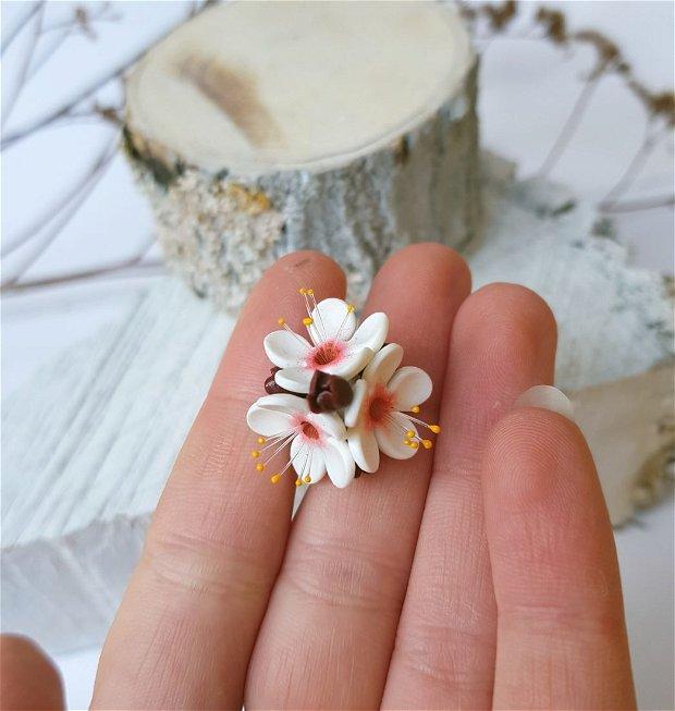 Inel flori de cires, argint 925