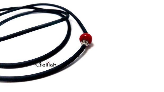 Snur ochelari din silicon negru si pietre semipretioase coral (LA056)