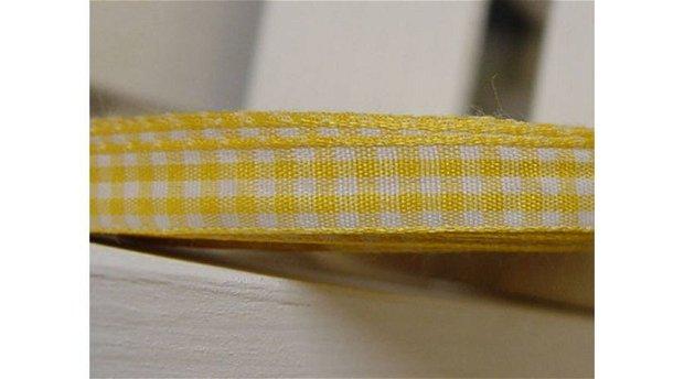 Banda decor -patrat galben-alb -1cm/1m