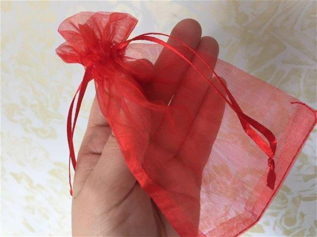 Săculeț organza roșu 11x8,8cm
