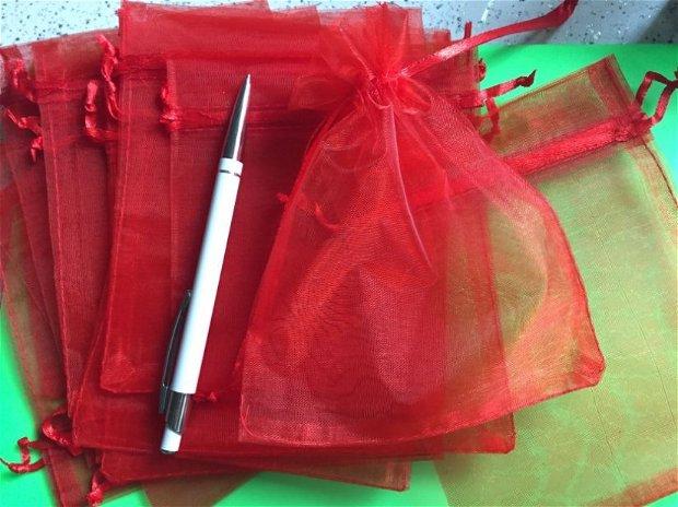 Săculeț organza roșu 15x12cm