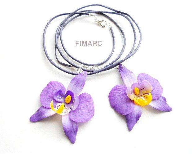 Orhidee - colier din piele naturala cu pandantiv