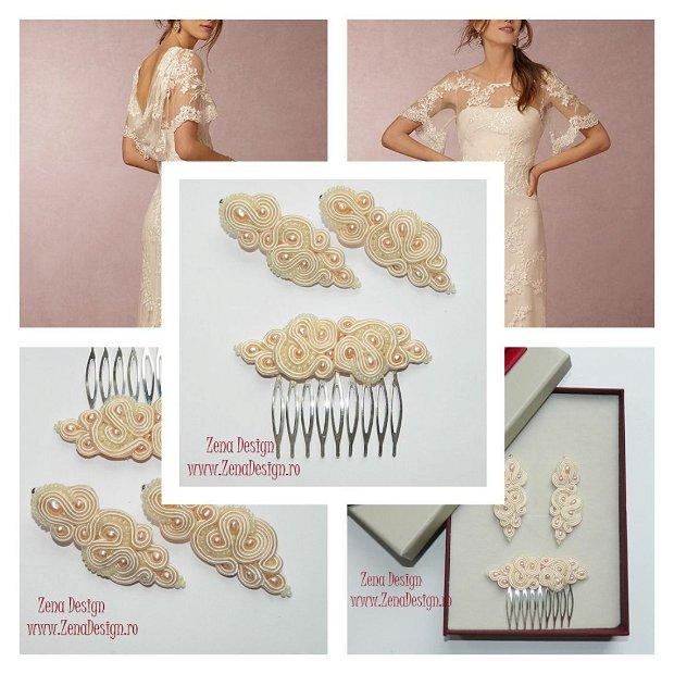 Set bijuterii ivory, Set pieptene par şi cercei statement, bijuterii elegante cu perle ivory, bijuterii haute couture, bijuterii mireasa
