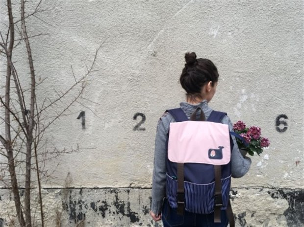 Rucsac Navy and pink,ghiozdan, geanta laptop din material impermeabil