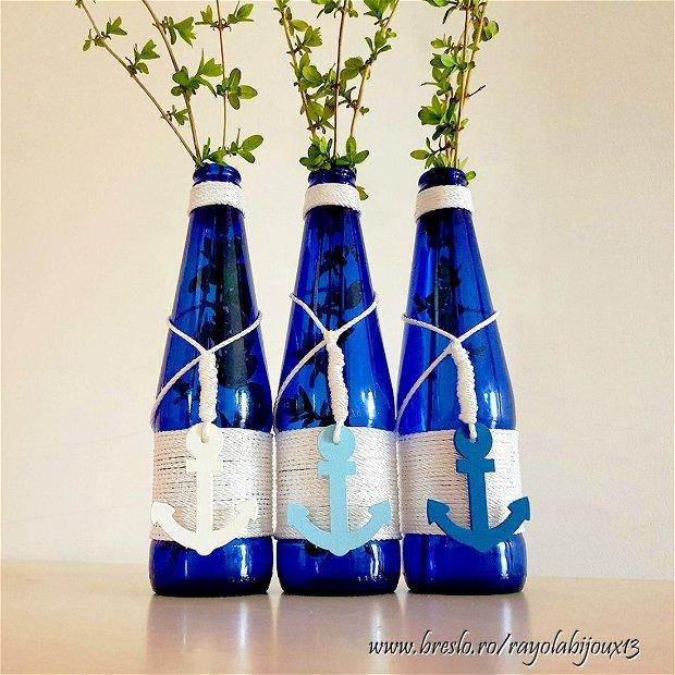 Sea View - Set 3 Vaze Albastre cu Tematica Marina