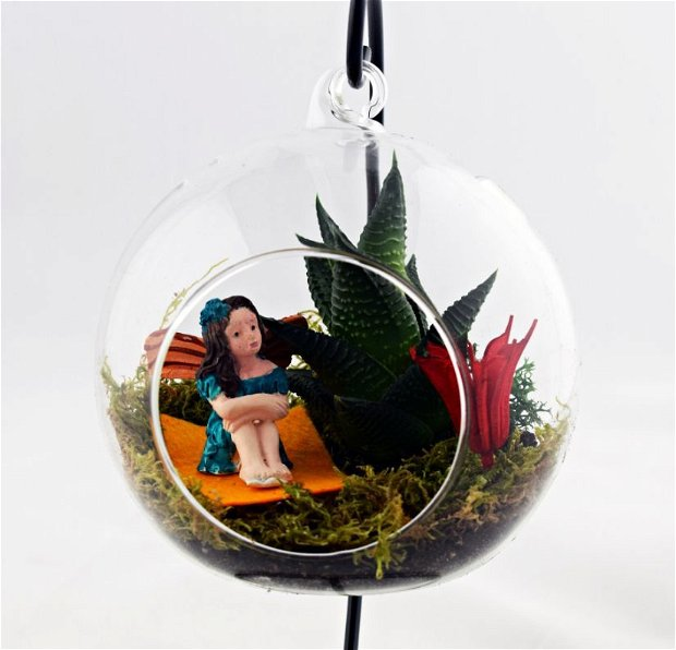 Terariu plante, decoratiune glob sticla