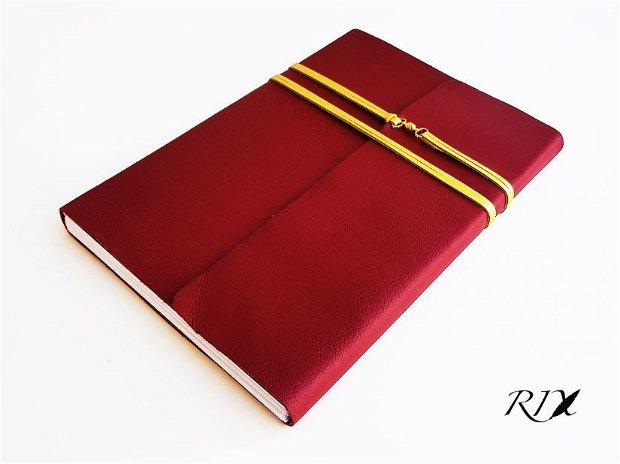 PROTOTIP (preț RROMOȚIONAL) - Jurnal (mare) de călătorie -BAROC- Jurnal de călătorie cu copertă de piele naturală roșu-bordo