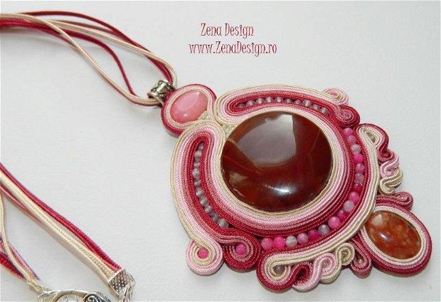 Pandantiv boho-chic, pandantiv maro cu roz, pandantiv cu pietre semipreţioase