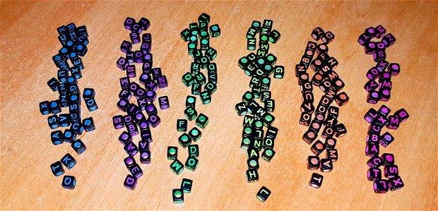 Bratari litere si bilute - color pe fond negru