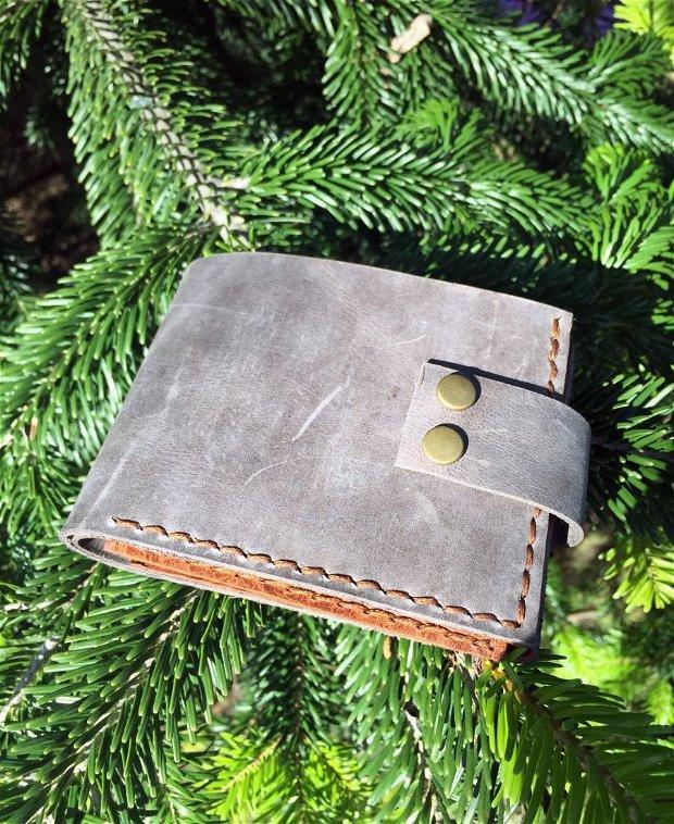 """Portofel """"AD1"""" din piele naturala reciclata, multicompartimentat, personalizat prin gravura"""