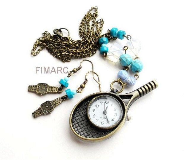 ''Ora de tenis''- colier cu ceas functional + cercei cadou