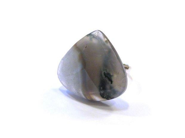 Inel reglabil din Argint 925 si Agata moss, picatura fatetata - IN685 - Inel masiv, inel elegant pietre semipretioase, inel piatra mare, inel alb gri translucid, cadou aniversare / Craciun / 8 martie sotie