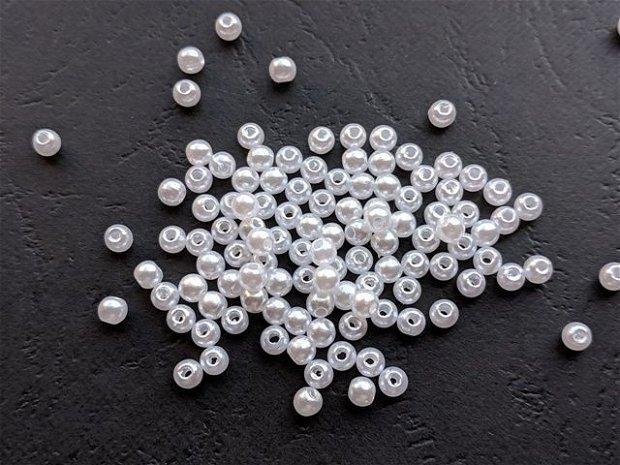 LMA403 - (10 buc) perle acrilice albe