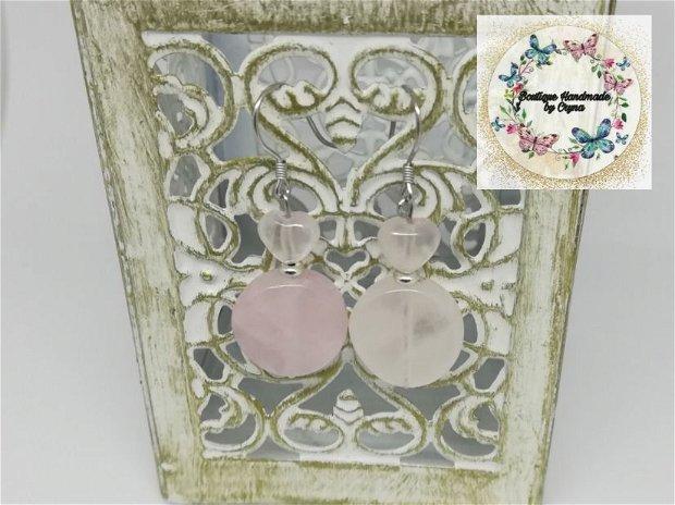 Cercei argint și Cuart roz
