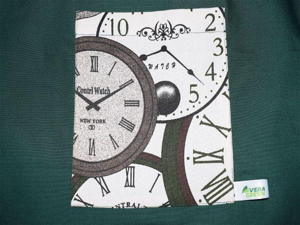 Sacoșă Citybreak zero waste verde cu ceas