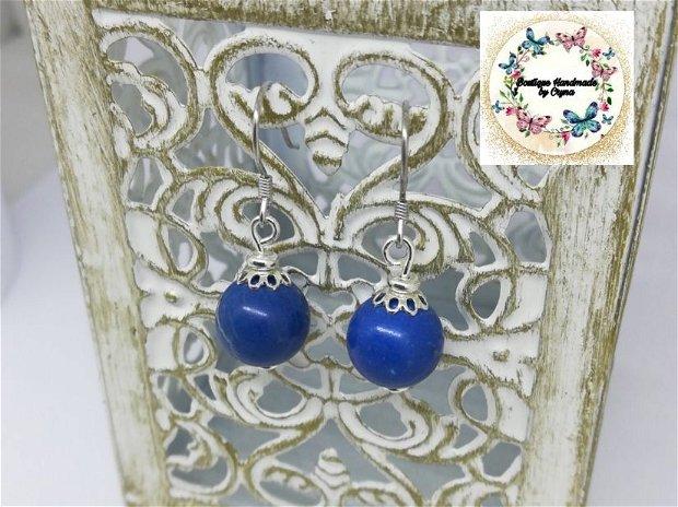 Cercei argint Jasp imperial albastru (regalit )