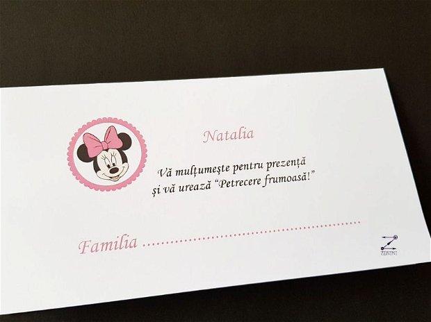 Placecard Minnie Mouse, plic bani Minnie, placecard Minnie, plic bani botez fetita