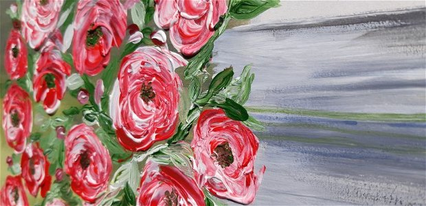 Tablou  Lemn. Trandafiri in vaza.
