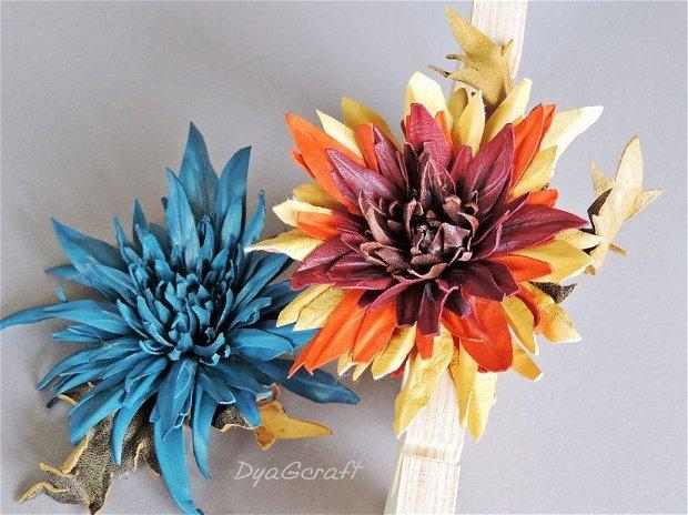 Brosa piele naturala Crizanteme