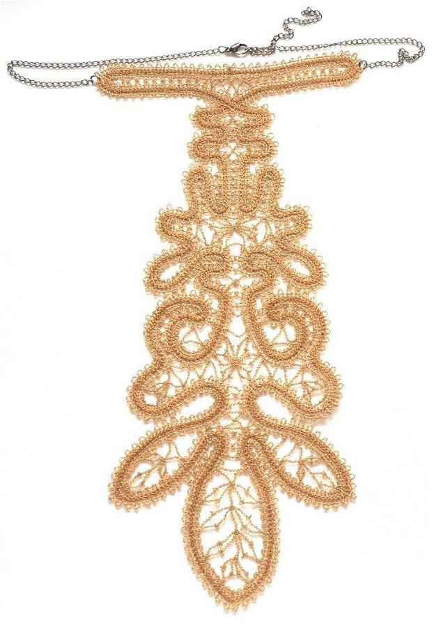 Cravata crem auriu brodata Battenberg