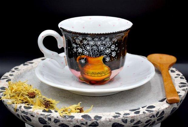 Ceasca cu Farfurie - Nature & Colors Collection/Portelan pictat/Cafea si ceai savuros/Familie/Cadou Aniversare/Boho Chic/Creatie Unicat