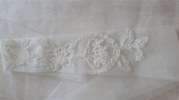 Esarfa mireasa dezgatit ivory/brau model 2