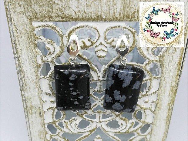 Cercei plăcuțe Obsidian