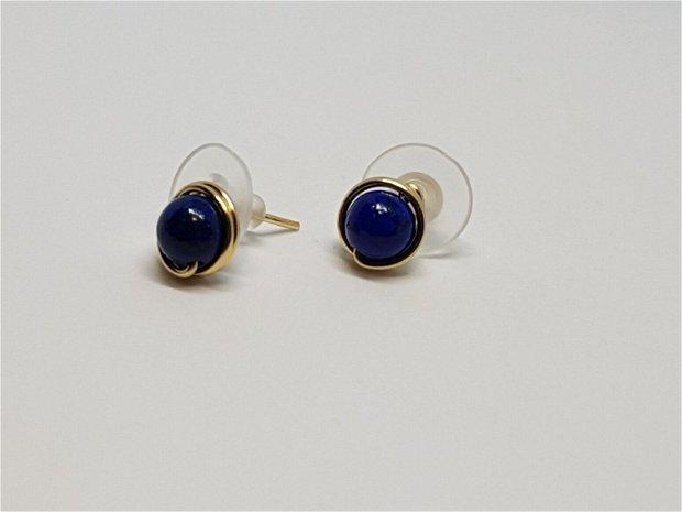 Cercei stud,Cercei din aur,Cercei cu Lapis Lazuli.
