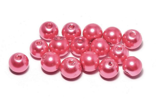 Perle din sticla, 6 mm, crimson