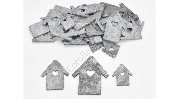 Figurine din lemn - casute gri, diferite marimi -4386G