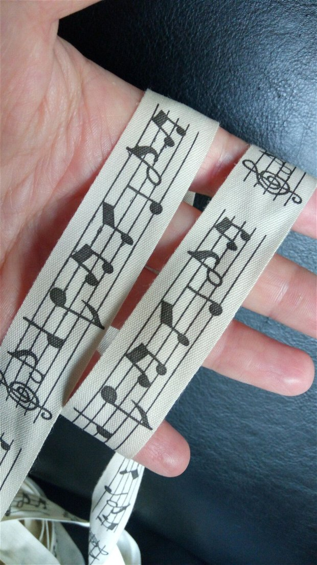 (1m) Banda decorativa (2 cm)cu note muzicale