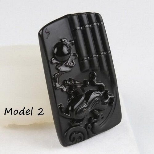 K0932 - Pandantiv, obsidian negru sculptat, dragonul imperial