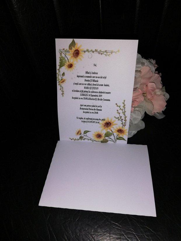 Invitatie nunta tema floarea soarelui