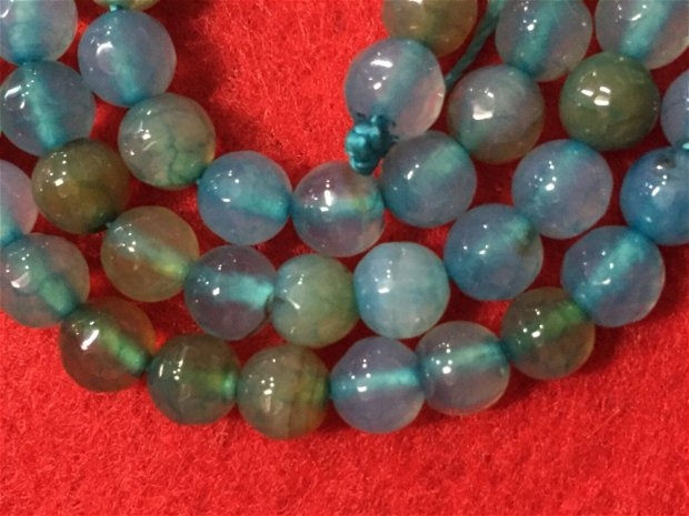 Agate Crackle turcoaz fatetate  6 mm-1 bucata-Aga2