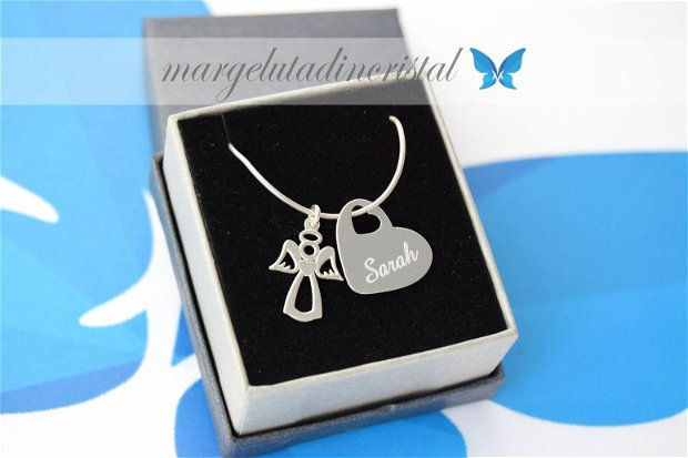 Lantisor argint personalizat - Angel Heart