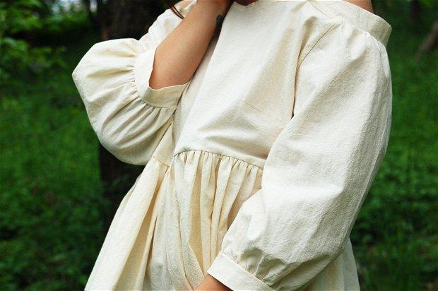 Bluza Sara - Karavanas Lupine collection | Bluza cu maneci bufante / Bluza cu umerii goi / Bluza cu volane / Tunica cu umeri goi / Bumbac natural
