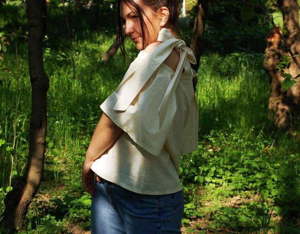 Bluza Dear Molly - Karavanas Lupine collection   Bluza cu maneci bufante si funde / Bluza cu umerii goi / Bluza cu volane / Tunica cu umeri goi / Bumbac natural