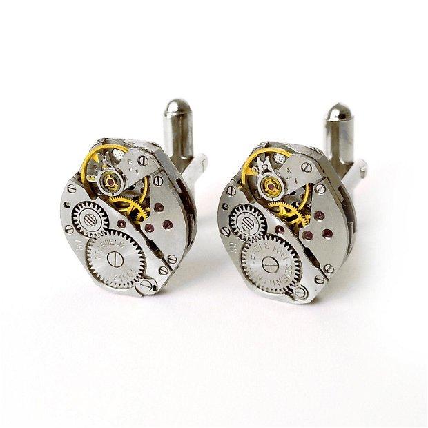 Butoni de camasa mecanici, Butoni steampunk, mecanism de ceas, Butoni unicati, Butoni de nunta