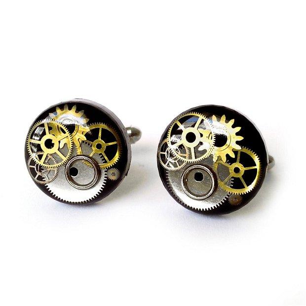 Butoni Argint 925 negri cu piese de ceas in rasina, butoni de camasa costum nunta unicati