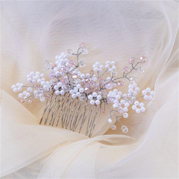 Pieptene par mireasa cu flori din perle