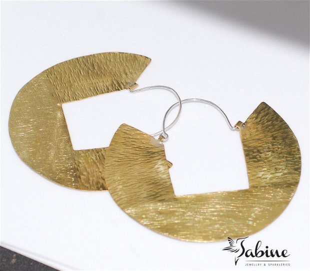 Cercei din alamă texturata, cu tortita de argint 925, cercei mari, cercei rotunzi, hoop earrings