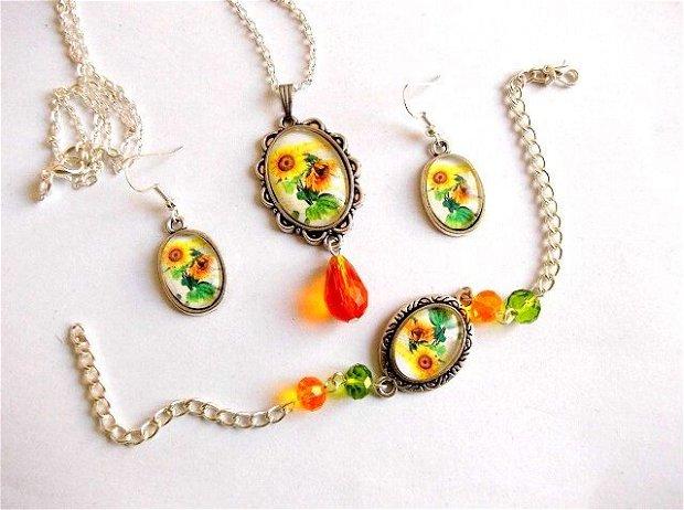 Set bijuterii floarea soarelui 34588