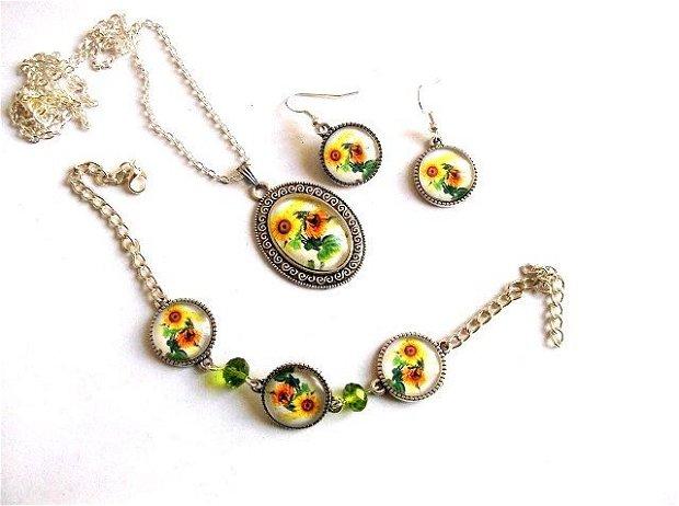 Set bijuterii floarea soarelui 34580
