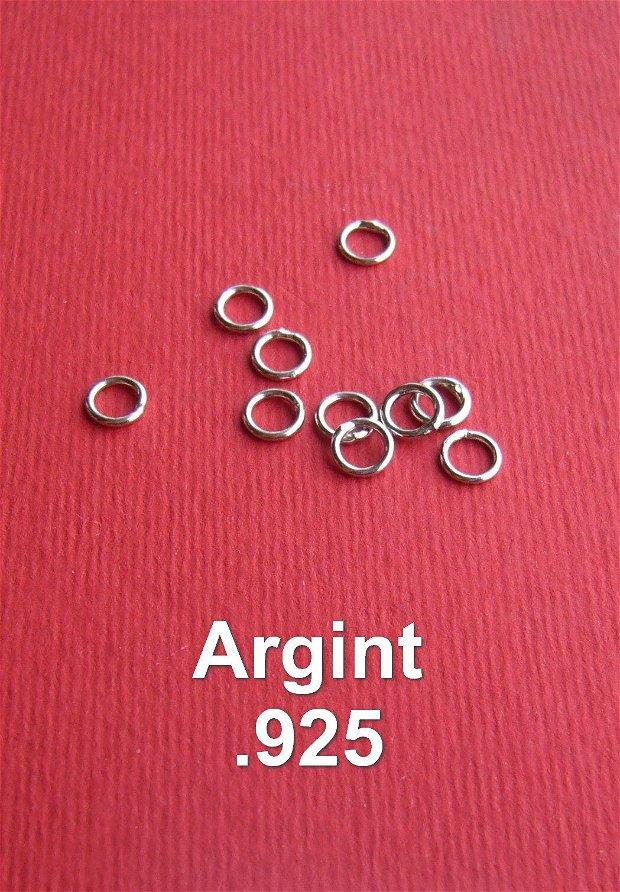(10 bucati) Zale mici sudate (ZS1) din argint .925 rodiat de diametru aprox 5 mm, grosime aprox  0.9 mm